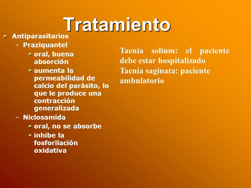 Tratamiento Taenia solium: el paciente debe estar hospitalizado