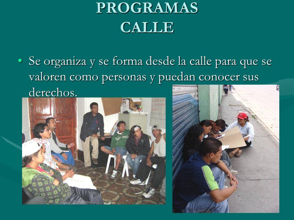 PROGRAMAS CALLE Se organiza y se forma desde la calle para que se valoren como personas y puedan conocer sus derechos.