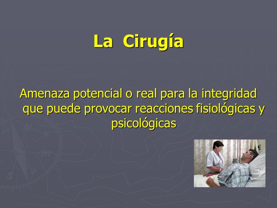 La Cirugía Amenaza potencial o real para la integridad que puede provocar reacciones fisiológicas y psicológicas.