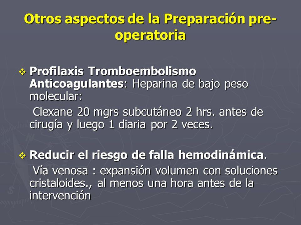 Otros aspectos de la Preparación pre-operatoria