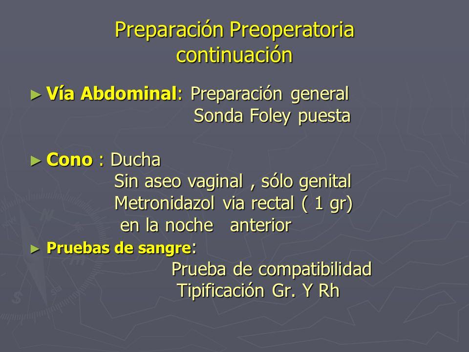 Preparación Preoperatoria continuación
