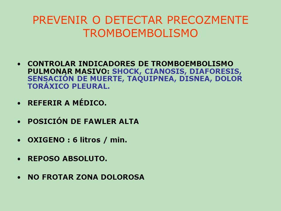 PREVENIR O DETECTAR PRECOZMENTE TROMBOEMBOLISMO