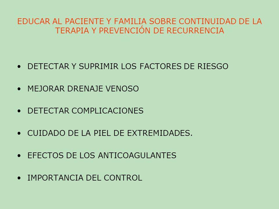 EDUCAR AL PACIENTE Y FAMILIA SOBRE CONTINUIDAD DE LA TERAPIA Y PREVENCIÓN DE RECURRENCIA
