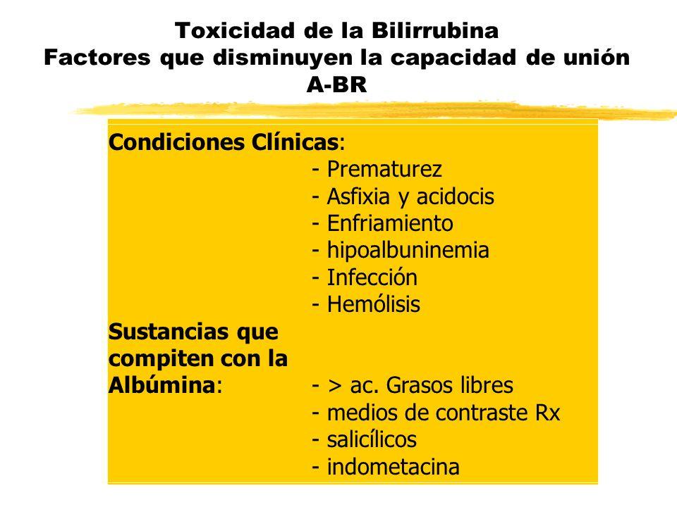Toxicidad de la Bilirrubina Factores que disminuyen la capacidad de unión A-BR