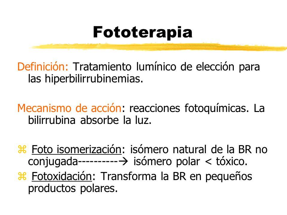 Fototerapia Definición: Tratamiento lumínico de elección para las hiperbilirrubinemias.
