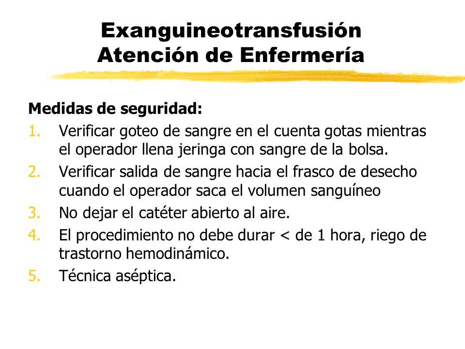 Exanguineotransfusión Atención de Enfermería