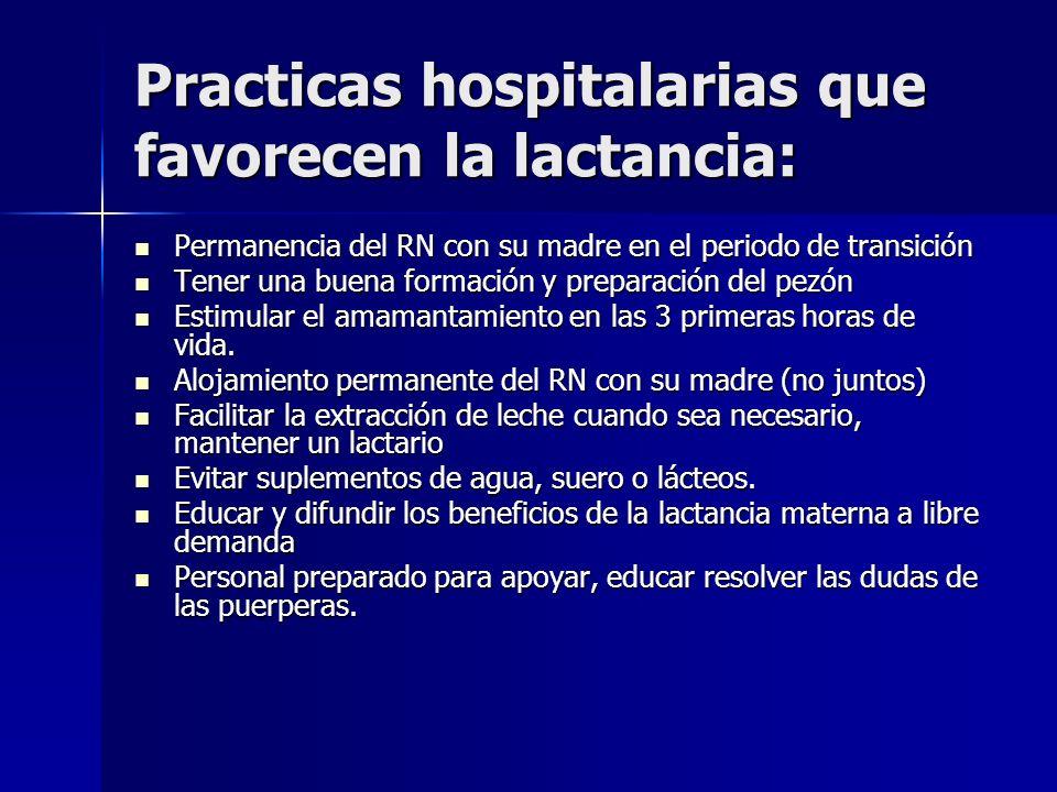 Practicas hospitalarias que favorecen la lactancia: