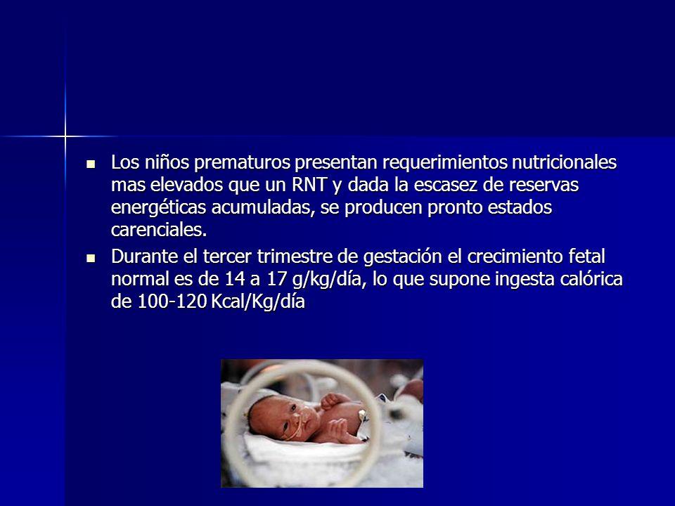 Los niños prematuros presentan requerimientos nutricionales mas elevados que un RNT y dada la escasez de reservas energéticas acumuladas, se producen pronto estados carenciales.