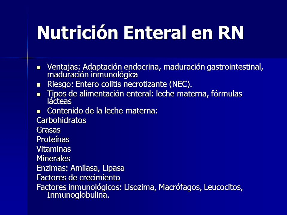 Nutrición Enteral en RN