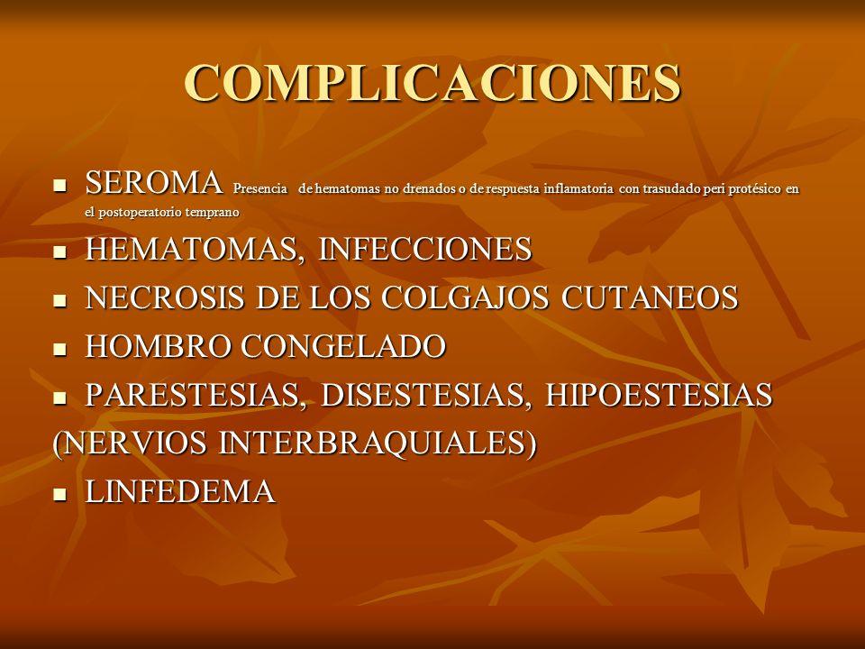 COMPLICACIONES SEROMA Presencia de hematomas no drenados o de respuesta inflamatoria con trasudado peri protésico en el postoperatorio temprano.