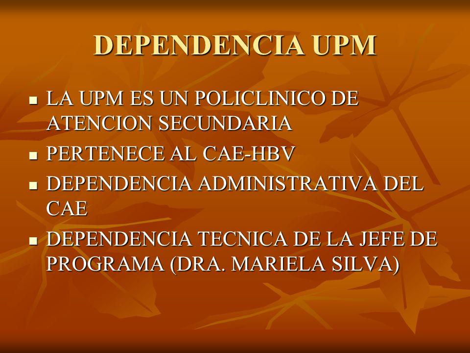 DEPENDENCIA UPM LA UPM ES UN POLICLINICO DE ATENCION SECUNDARIA