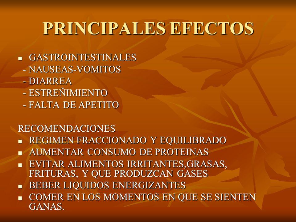 PRINCIPALES EFECTOS GASTROINTESTINALES - NAUSEAS-VOMITOS - DIARREA