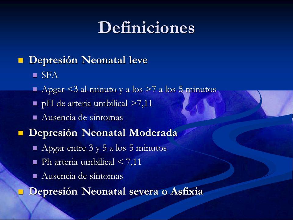 Definiciones Depresión Neonatal leve Depresión Neonatal Moderada