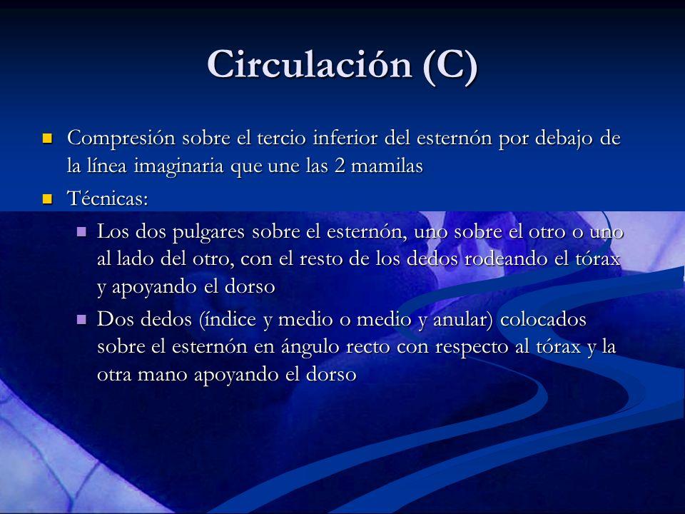 Circulación (C) Compresión sobre el tercio inferior del esternón por debajo de la línea imaginaria que une las 2 mamilas.