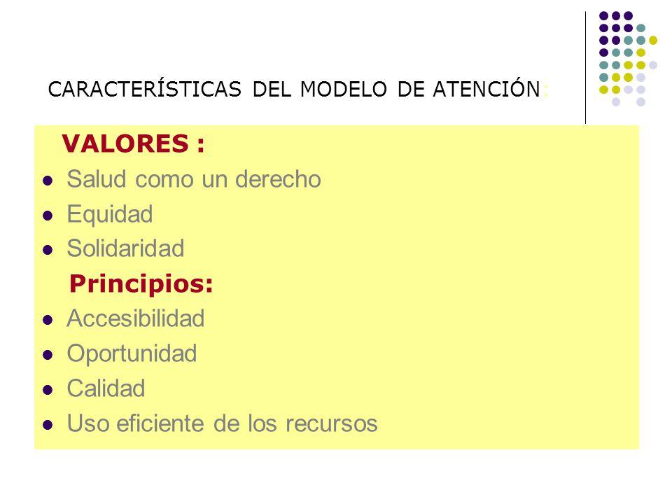 CARACTERÍSTICAS DEL MODELO DE ATENCIÓN: