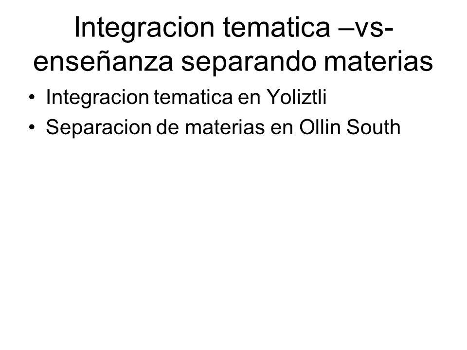Integracion tematica –vs- enseñanza separando materias