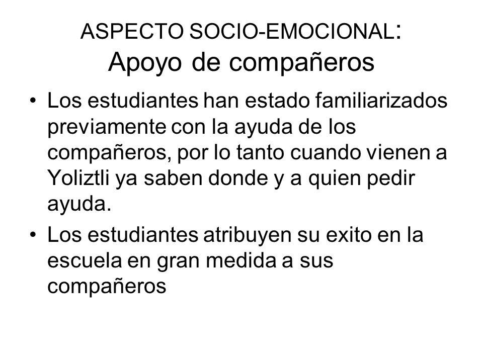 ASPECTO SOCIO-EMOCIONAL: Apoyo de compañeros