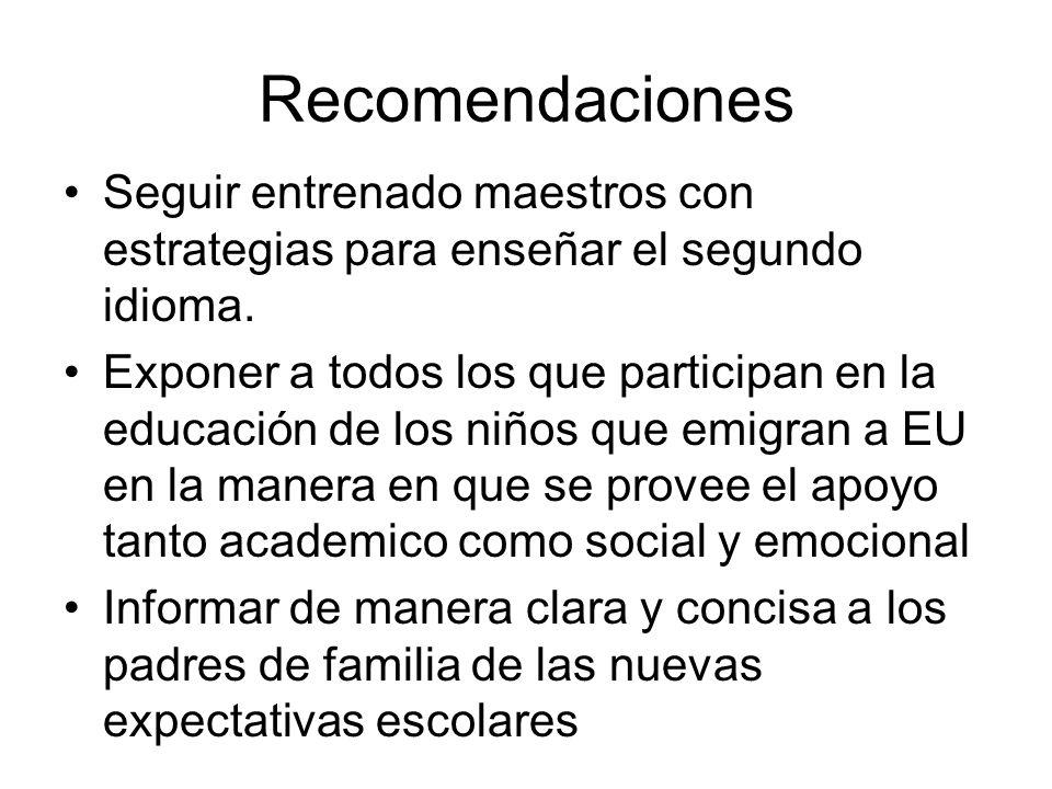 Recomendaciones Seguir entrenado maestros con estrategias para enseñar el segundo idioma.