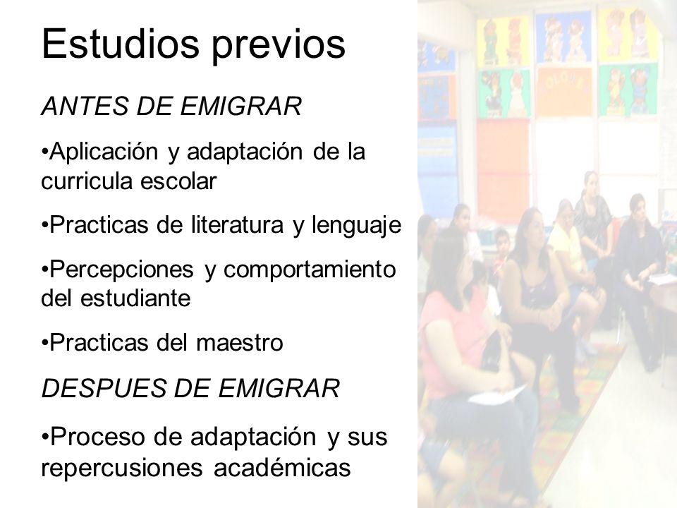 Estudios previos ANTES DE EMIGRAR DESPUES DE EMIGRAR