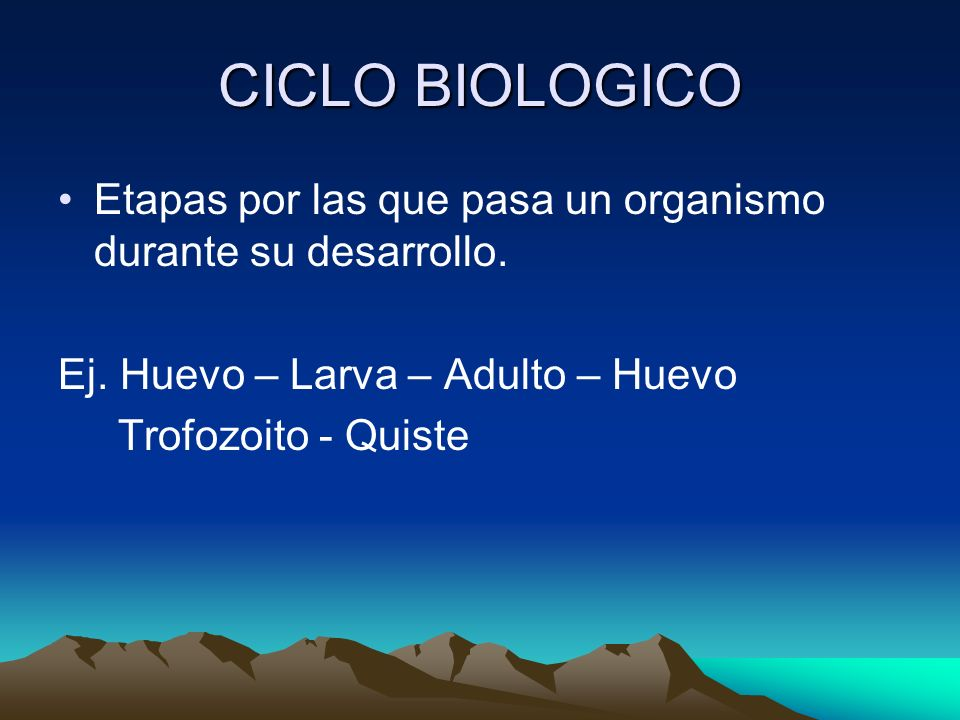 CICLO BIOLOGICOEtapas por las que pasa un organismo durante su desarrollo. Ej. Huevo – Larva – Adulto – Huevo.
