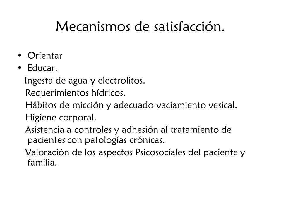 Mecanismos de satisfacción.