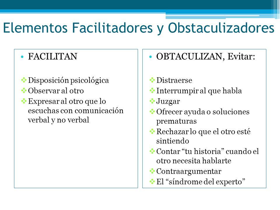 Elementos Facilitadores y Obstaculizadores