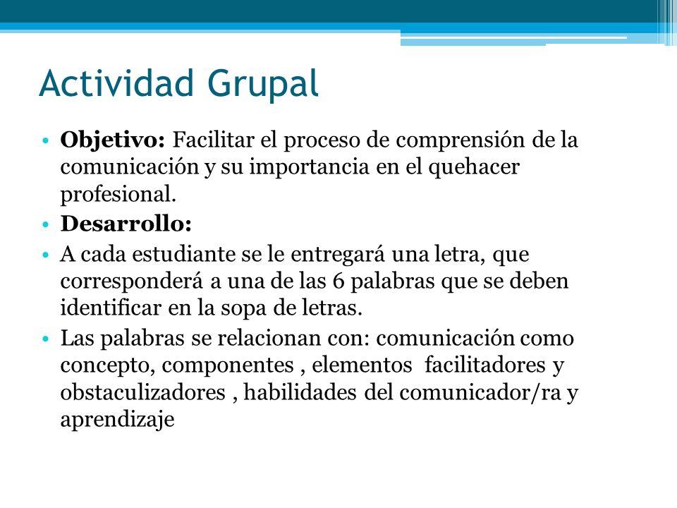 Actividad Grupal Objetivo: Facilitar el proceso de comprensión de la comunicación y su importancia en el quehacer profesional.