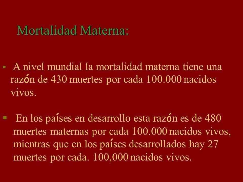 Mortalidad Materna: razón de 430 muertes por cada 100.000 nacidos