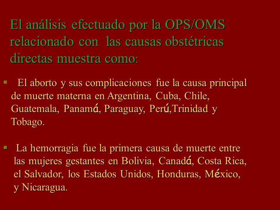 El análisis efectuado por la OPS/OMS relacionado con las causas obstétricas directas muestra como:
