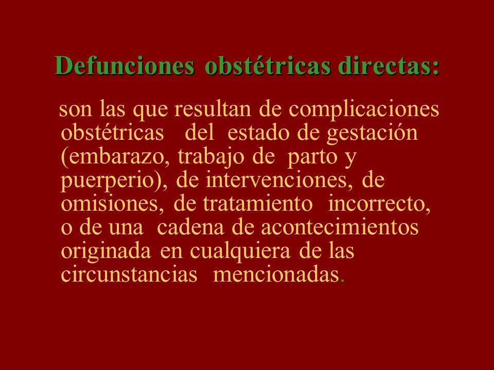Defunciones obstétricas directas: