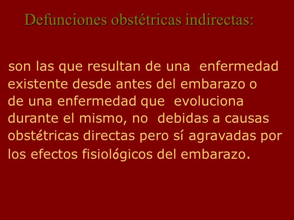 Defunciones obstétricas indirectas: