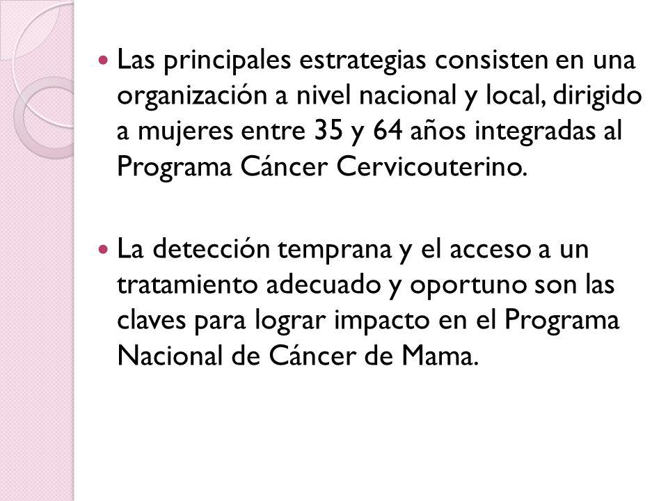 Las principales estrategias consisten en una organización a nivel nacional y local, dirigido a mujeres entre 35 y 64 años integradas al Programa Cáncer Cervicouterino.