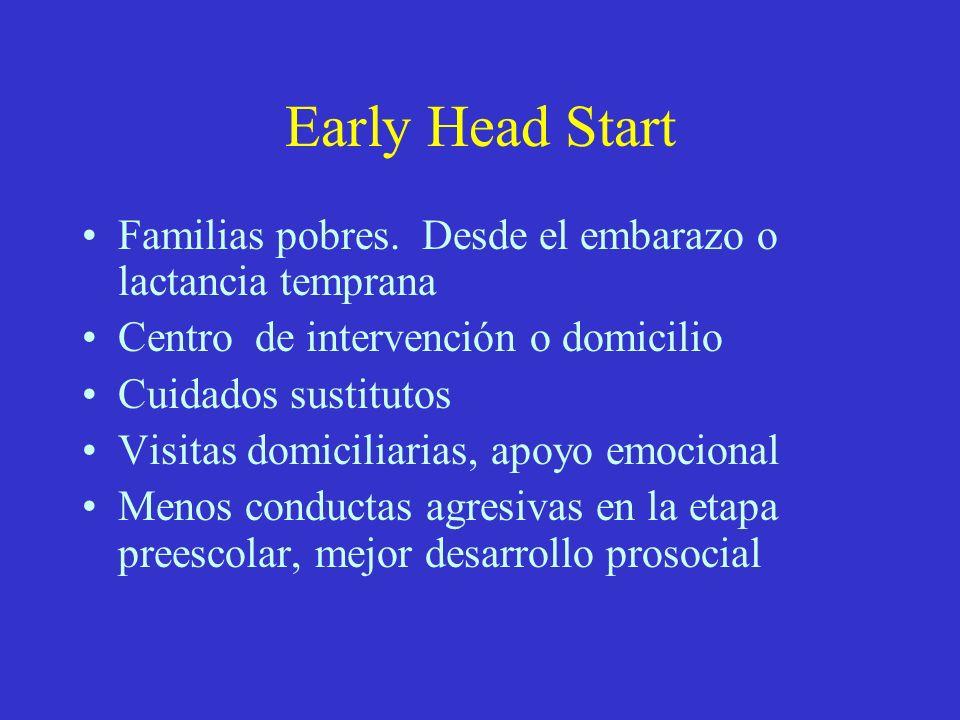 Early Head StartFamilias pobres. Desde el embarazo o lactancia temprana. Centro de intervención o domicilio.