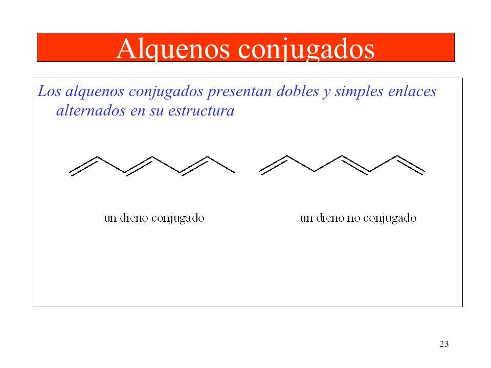 Alquenos conjugados Los alquenos conjugados presentan dobles y simples enlaces alternados en su estructura.