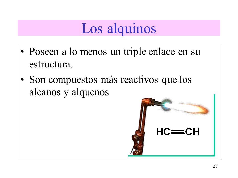 Los alquinos Poseen a lo menos un triple enlace en su estructura.