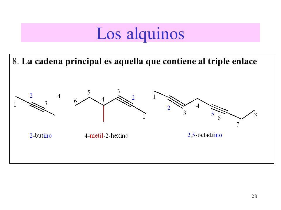 Los alquinos 8. La cadena principal es aquella que contiene al triple enlace