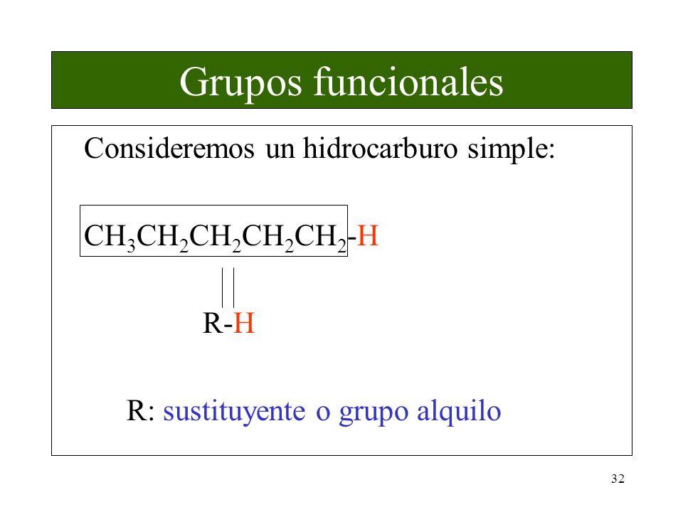 Grupos funcionales Consideremos un hidrocarburo simple: