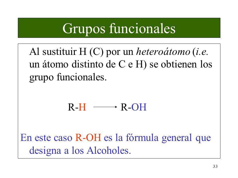 Grupos funcionales Al sustituir H (C) por un heteroátomo (i.e. un átomo distinto de C e H) se obtienen los grupo funcionales.