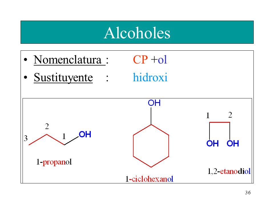 Alcoholes Nomenclatura : CP +ol Sustituyente : hidroxi