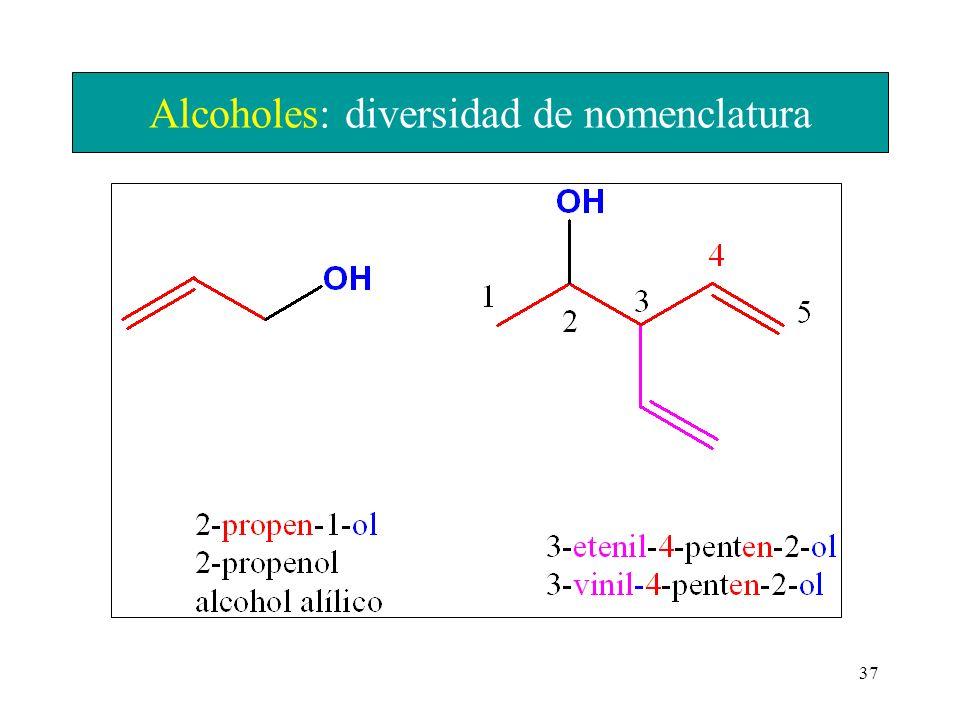 Alcoholes: diversidad de nomenclatura