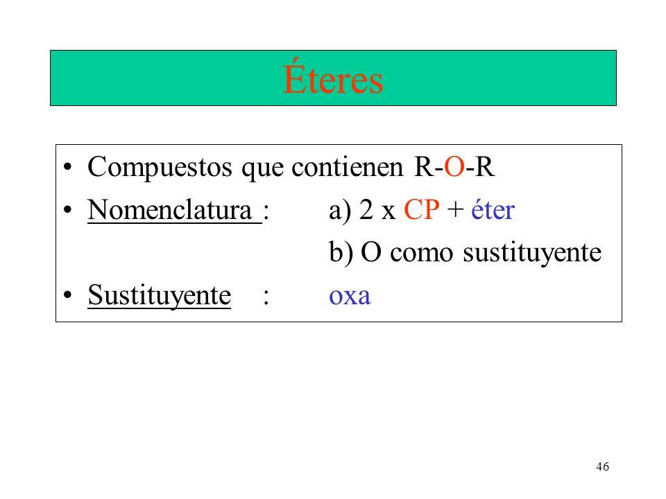 Éteres Compuestos que contienen R-O-R Nomenclatura : a) 2 x CP + éter