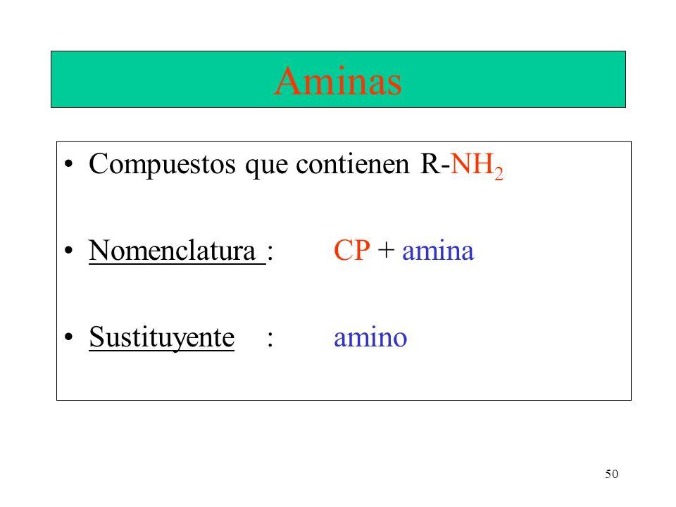 Aminas Compuestos que contienen R-NH2 Nomenclatura : CP + amina