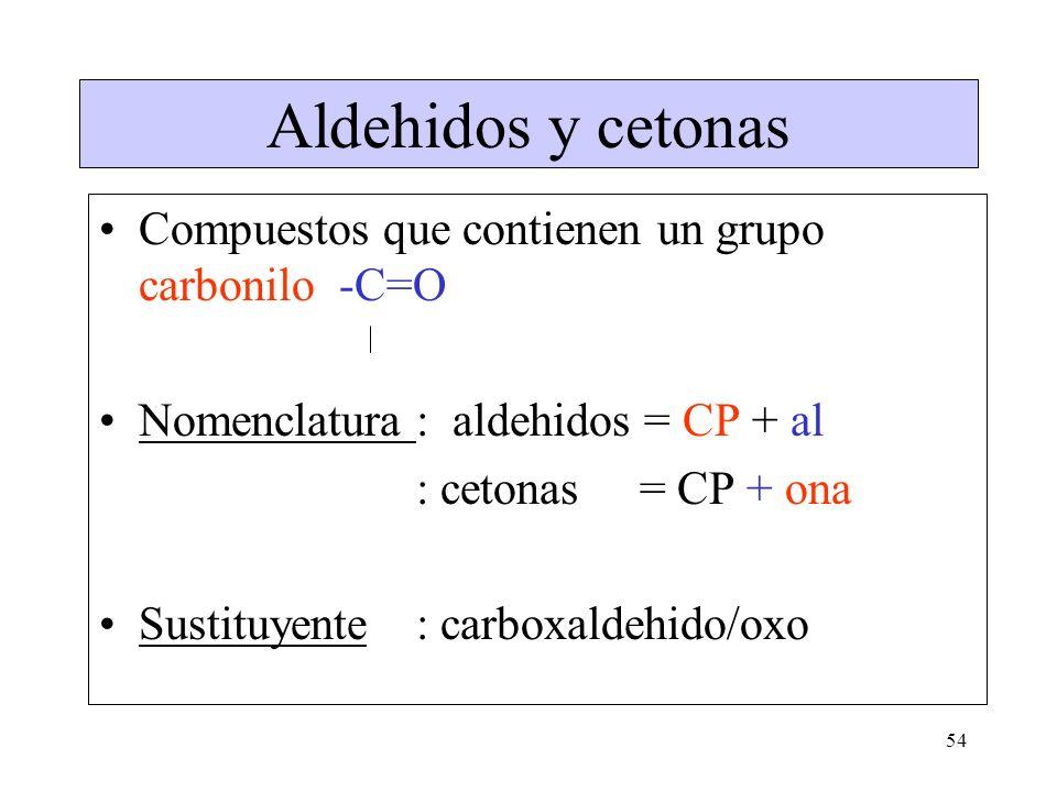 Aldehidos y cetonas Compuestos que contienen un grupo carbonilo -C=O