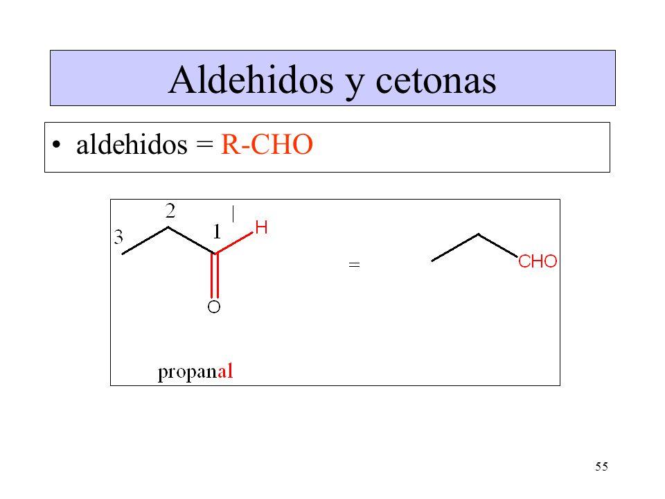 Aldehidos y cetonas aldehidos = R-CHO