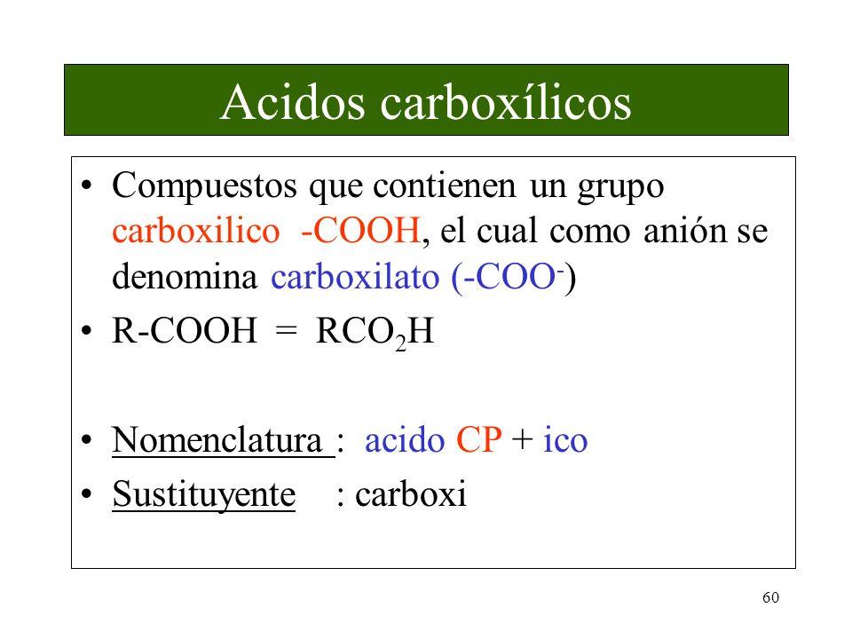 Acidos carboxílicos Compuestos que contienen un grupo carboxilico -COOH, el cual como anión se denomina carboxilato (-COO-)
