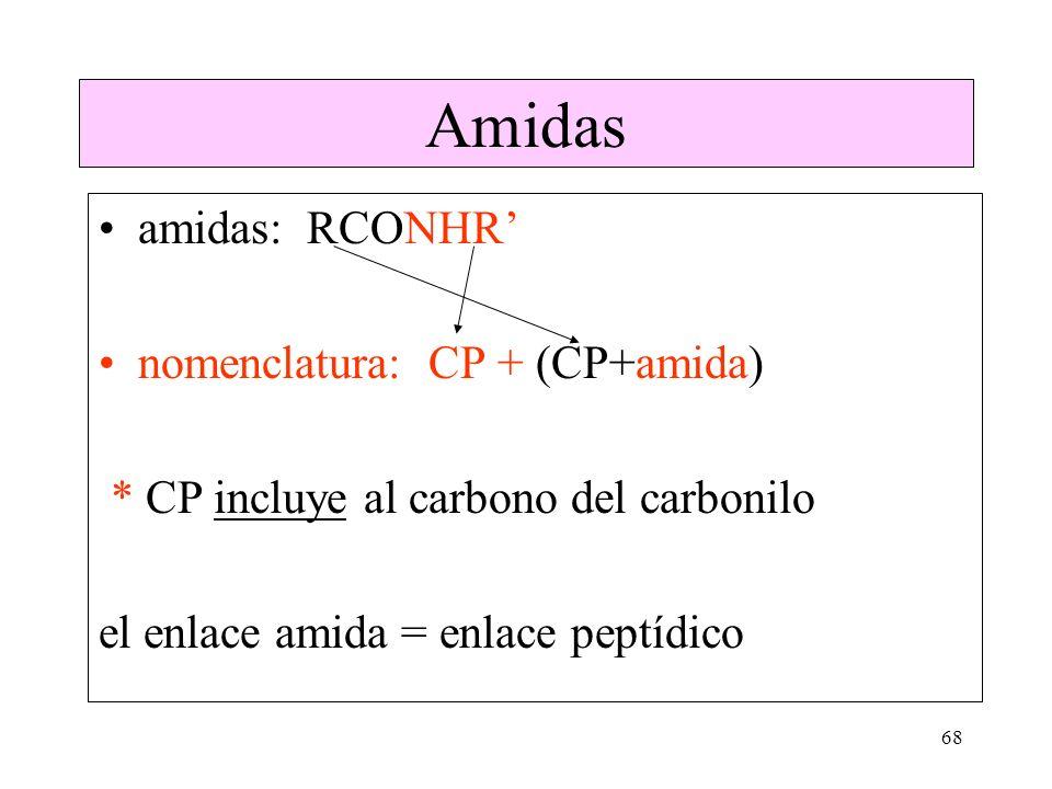 Amidas amidas: RCONHR' nomenclatura: CP + (CP+amida)