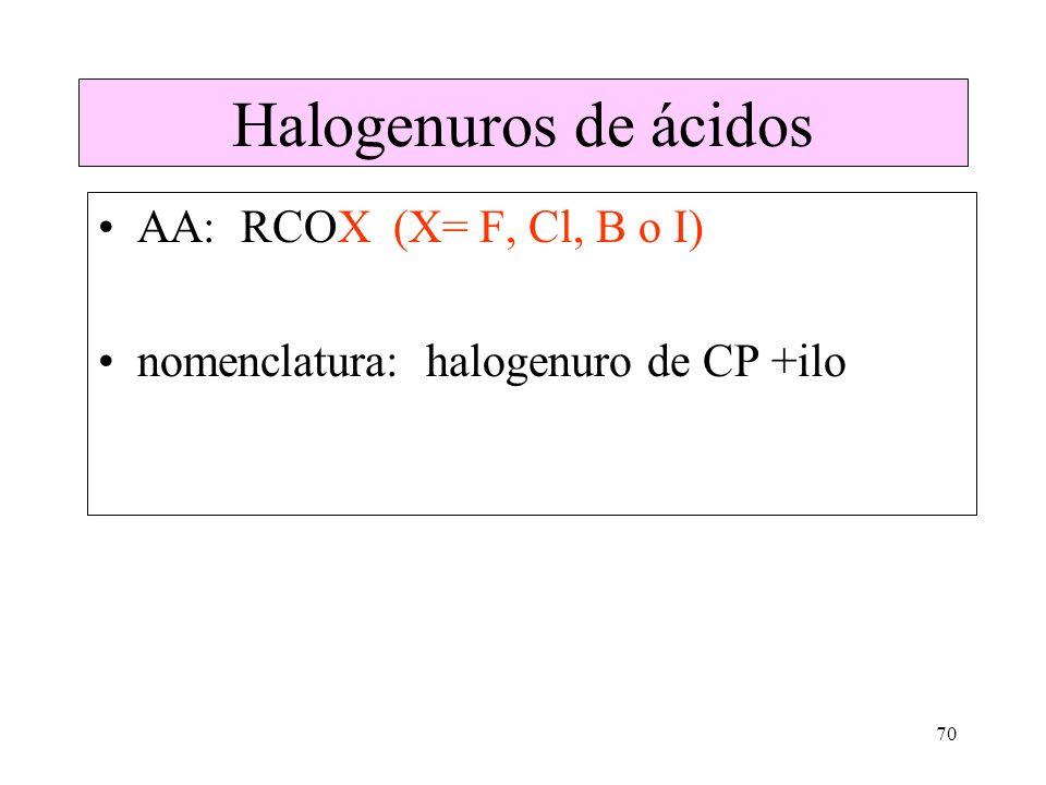 Halogenuros de ácidos AA: RCOX (X= F, Cl, B o I)