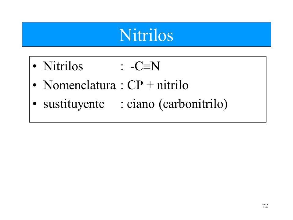 Nitrilos Nitrilos : -CN Nomenclatura : CP + nitrilo