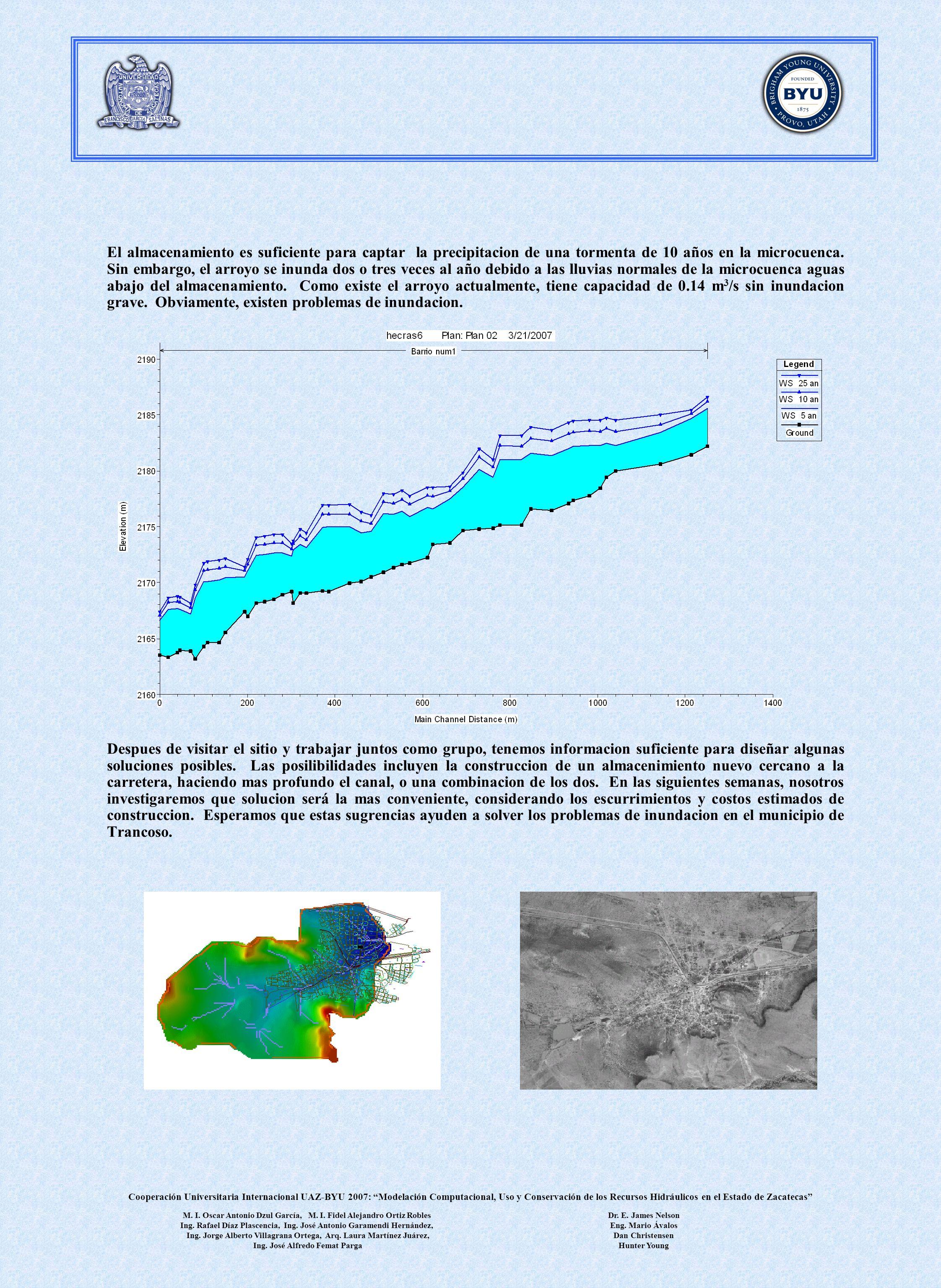 El almacenamiento es suficiente para captar la precipitacion de una tormenta de 10 años en la microcuenca. Sin embargo, el arroyo se inunda dos o tres veces al año debido a las lluvias normales de la microcuenca aguas abajo del almacenamiento. Como existe el arroyo actualmente, tiene capacidad de 0.14 m3/s sin inundacion grave. Obviamente, existen problemas de inundacion.