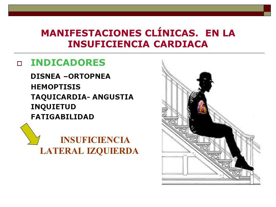 MANIFESTACIONES CLÍNICAS. EN LA INSUFICIENCIA CARDIACA